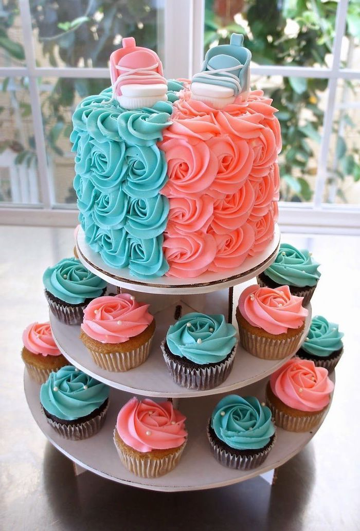 Cake And Cupcakes With Blue And Pink Frosting Gender Reveal Ideas Pink And Blue Sneakers C Gender Reveal Cupcakes Gender Reveal Cake Gender Reveal Cake Diy