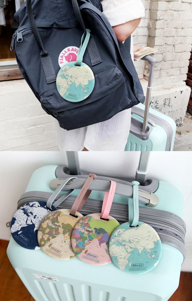 219 best travel accessories images on pinterest luggage bags this round shape world map travel tag is designed to help distinguish your luggage quickly gumiabroncs Image collections