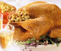 Roast Turkey with Old-Fashioned Bread Stuffing Recipe - my favourite stuffing sans mushrooms :)