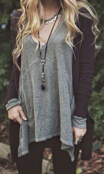 #fall #fashion / gray knit + oversized cardigan