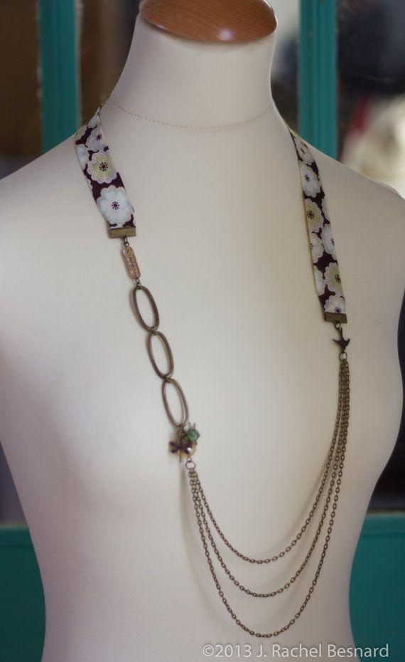 Liberty of London Mix brun et Floral collier en par JRachelBesnard