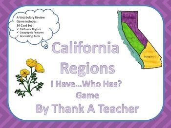 $Students will beg to review their California regions facts with this fast-paced, whole class game about the mountain, desert, valley and coastal regions. It also includes natural resources and facts specific to California. Students can play repeatedly to reinforce concepts.