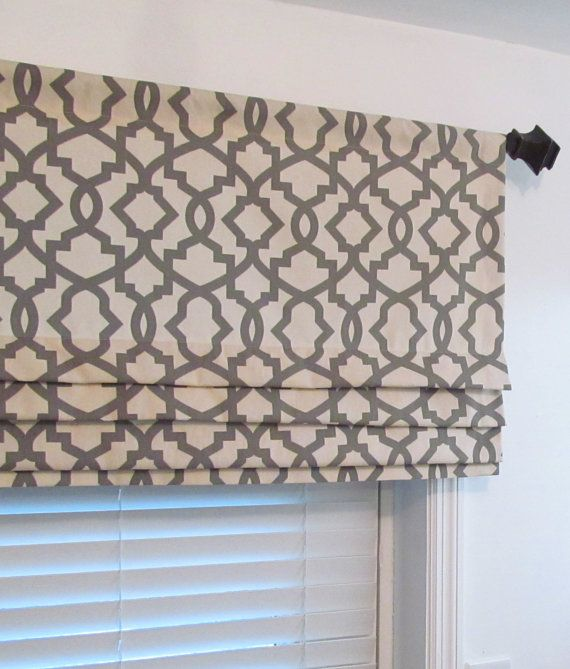 Lined faux roman shade grey natural geometric trellis for Kitchen valance ideas pinterest