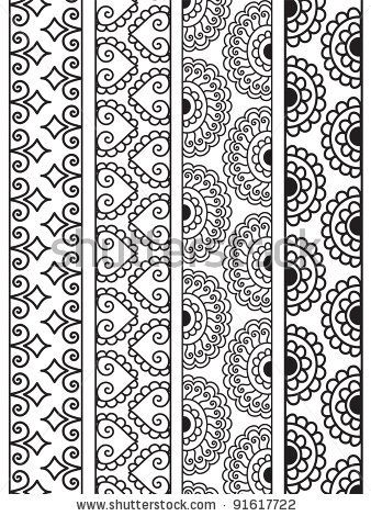 Henna Border, Henna inspired Border - very elaborate and easily editable - stock vector