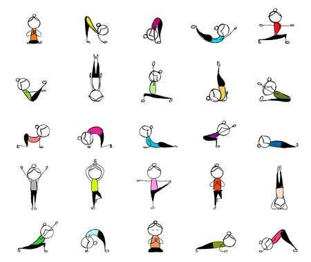 people practicing yoga 25 poses for your design  stick