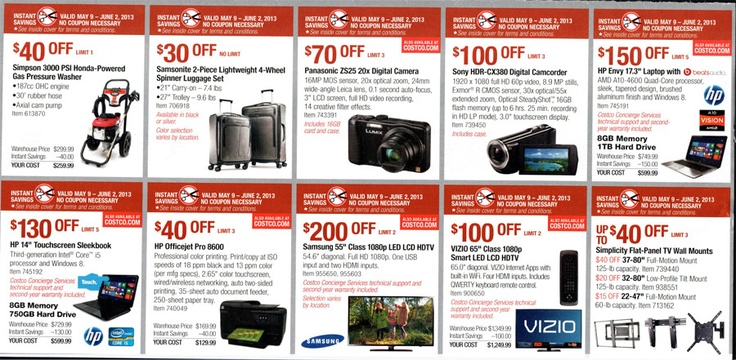 Costco Coupon Book – May 9 – June 2, 2013 –  Coupons, Online Sales, Deals