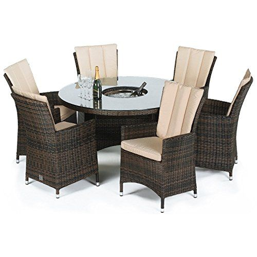 San Diego Rattan Garden Furniture Brown 6 Seater Round Table Set With Ice  Bucket