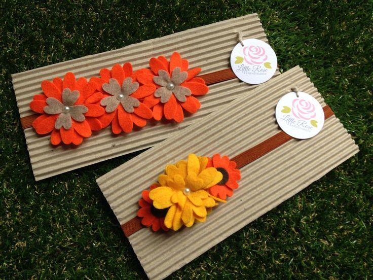 Set due fascie elastiche in feltro colore giallo e arancione by Little Rose Handmade, by Romanticards e Little Rose Handmade, 11,00 € su misshobby.com