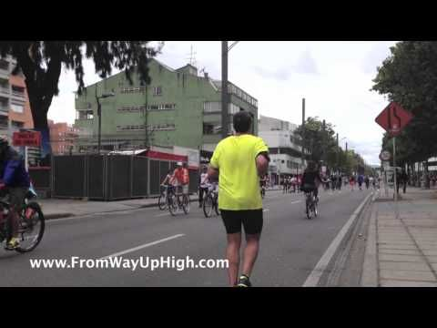 A video from Bogota's ciclovia. Every Sunday, Bogota shuts off its streets to traffic and opens them up to the people during an event called the ciclovia. More than one million bikers, pedestrians and roller bladers take over 60-plus miles of highway.  From 7 am to 2 pm, the city becomes a living gym.