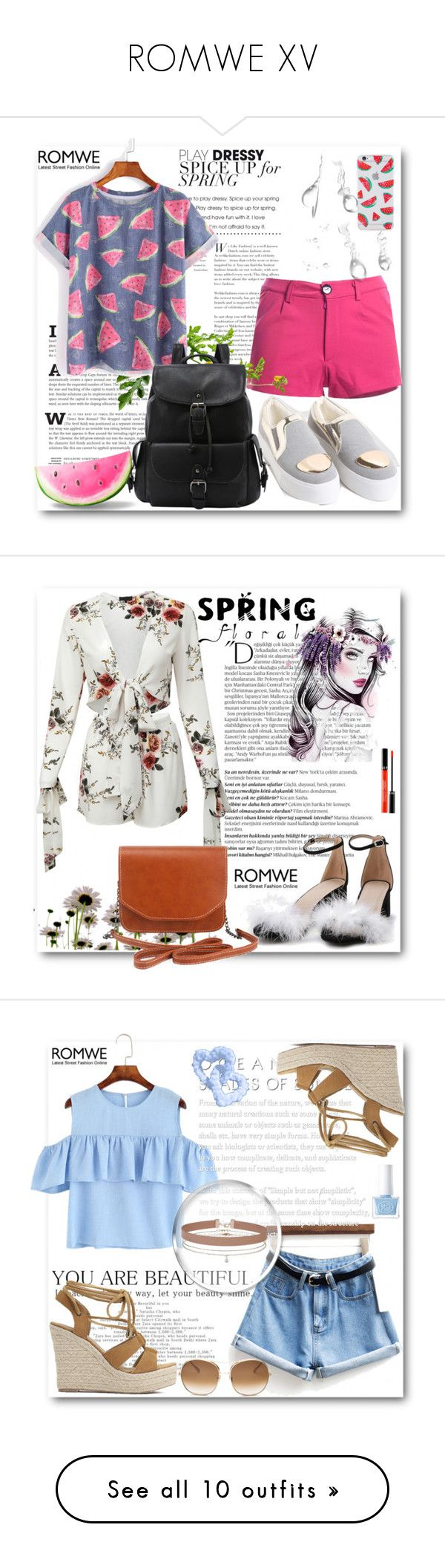 """ROMWE XV"" by belmina-v ❤ liked on Polyvore featuring Sonix, Balmain, Sephora Collection, Miss Selfridge, Chloé, Brewster Home Fashions, The French Bee, Rossetto, jcp and Trademark Fine Art"