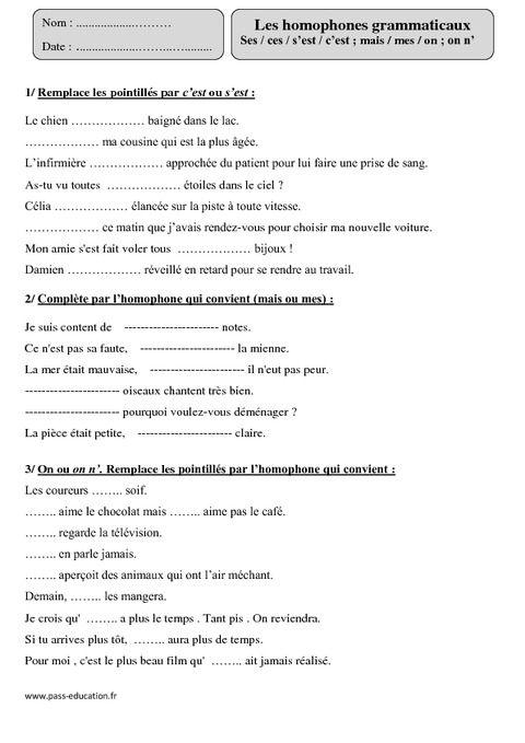 Homophones grammaticaux - Ses / ces / s'est / c'est ; mais / mes / on ; on n' – Cm1 – Exercices corrigés – Orthographe – Cycle 3 - Pass Education