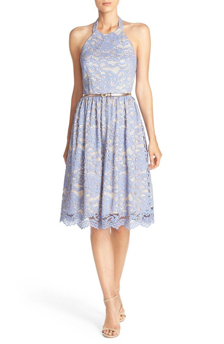 Light Blue Lace Halter Fit Flare Dress