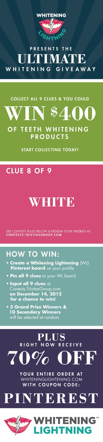 #WIN $400 Worth of #TeethWhitening products! Clue 8 of 9 - Follow Whitening Lightning and collect all 9 clues to win. Go to Contests.TrivitasGroup.com for details and contest rules! GOOD LUCK!