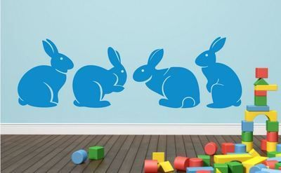 Cute bunny rabbits silhouettes set of 4 – wall art decal vinyl sticker decor.