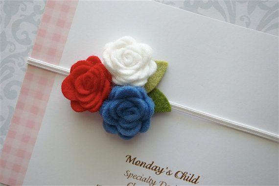 My Mondays Child $6.99 + 2.50 (.50 additional items) 4th of July Headband - Felt Flower Headband in Little Miss Patriotic - Baby Headbands, Newborn Headbands, Toddler Girls Headband