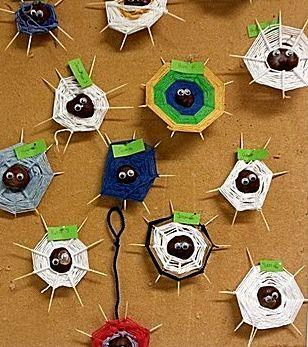 Uit de categorie Andere ideeën het knutselidee Spinnenweb met kastanje