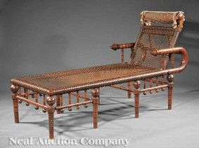 Hunzinger Modern Gothic Incised Walnut Daybed    Sold For 9,250