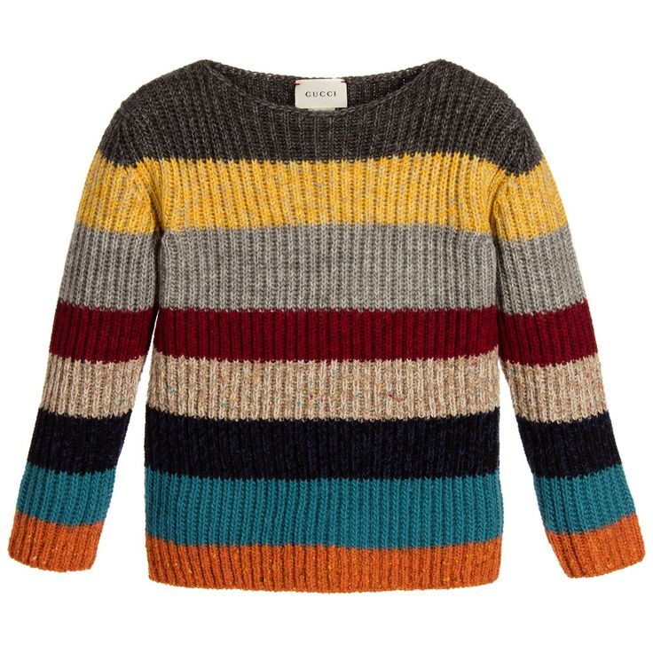 Boys colourful, striped, chunky knit, soft wool and alpaca blendsweater by Gucci. In a wide, boat neck style, the sweater is both ribbed and cosy, and will team well withmany items in a boy's winter wardrobe.