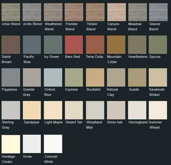 Vinyl Siding Color Chart | Click here to view Monogram 46 siding colors