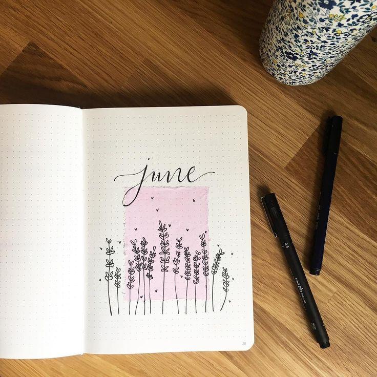 Bullet Journal monatliches Deckblatt, Juni Deckblatt … – #Bullet #cover #Journal #Juni #minimaliste