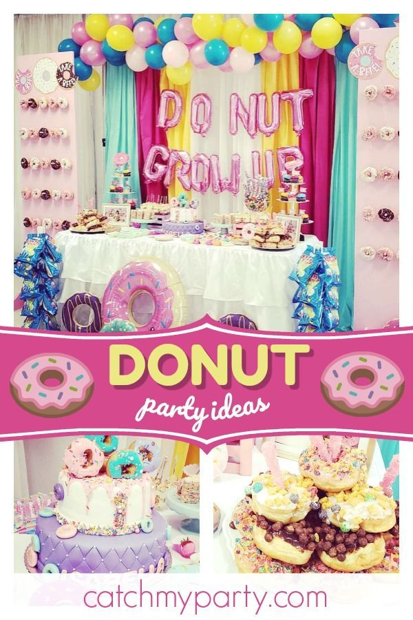 Donuts Birthday Donut Grow Up Little One Catch My Party Donut Birthday Parties Birthday Donuts Donut Party