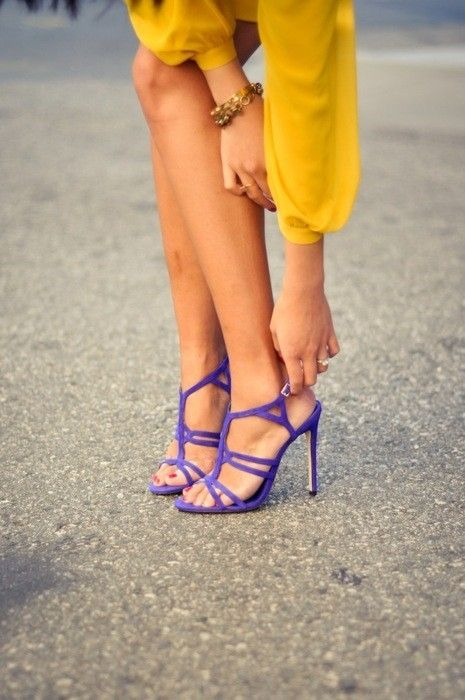 Purple + yellow? Yes, plz!: Purple Shoes, Colors Combos, Fashion Shoes, Style, Clothing, Purple Heels, Sandals, Yellow, High Heels