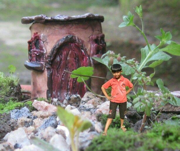 In the miniature garden!