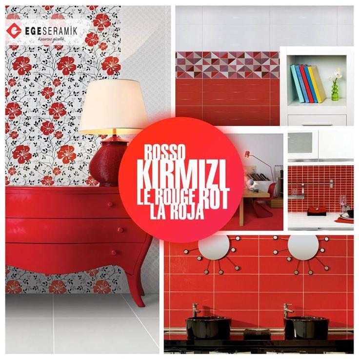 Kırmızı renk fiziksel olarak ataklığı ve canlılığı, duygusal bağlamda bir işi sonuna kadar götüren azmi ve kararlılığı gösterir. Kırmızı renk ayrıca mutluluğu ve aşkı temsil eder.  #egeseramik #kırmızı #red #tile #decoration #seramik #ceramic #home #floor #kitchen #bathroom #banyo #mutfak