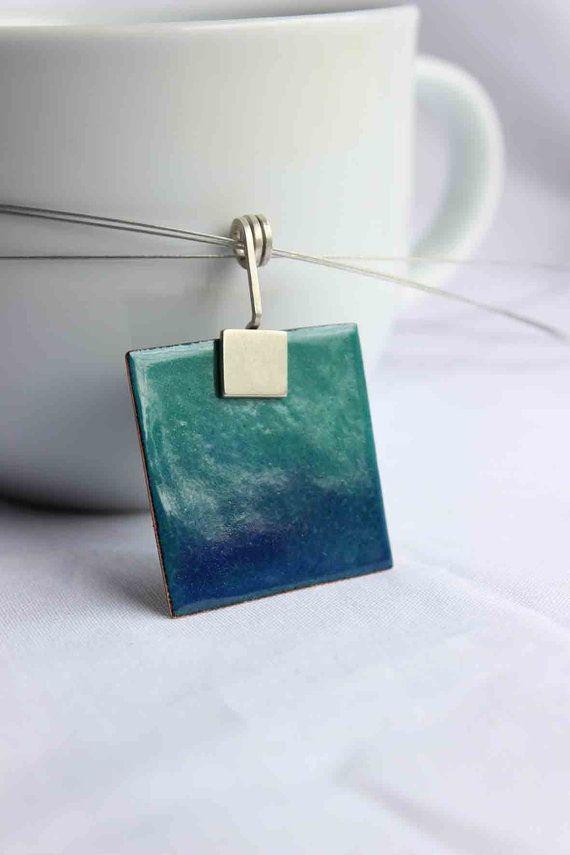 "Enamelled square Necklace, Turquoise and Blue Enamels, Sterling silver and copper, ""Deep sea"" Pendant"