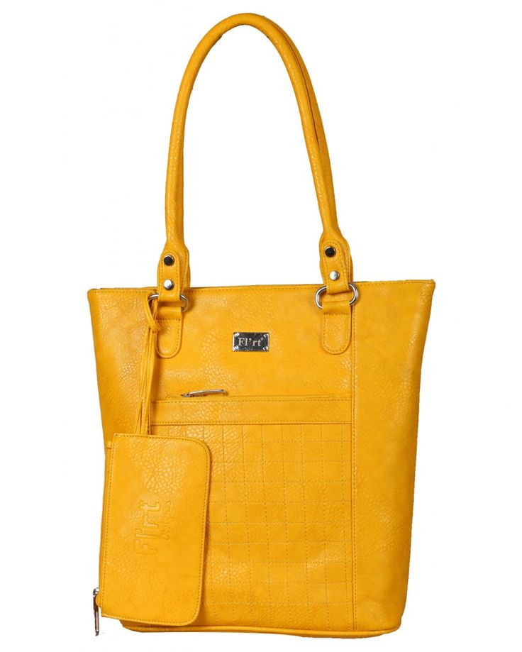 Unique in design, this canary yellow colored handbag by purple you will be truly an amazing pick for your exclusive bag collection. Crafted from Polyurethane, it