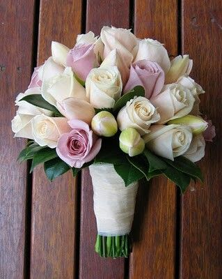 Ivory Vendela Roses, Light Lavender Roses, & Light Blush Tulips, + Dark Green Foliage>>>>
