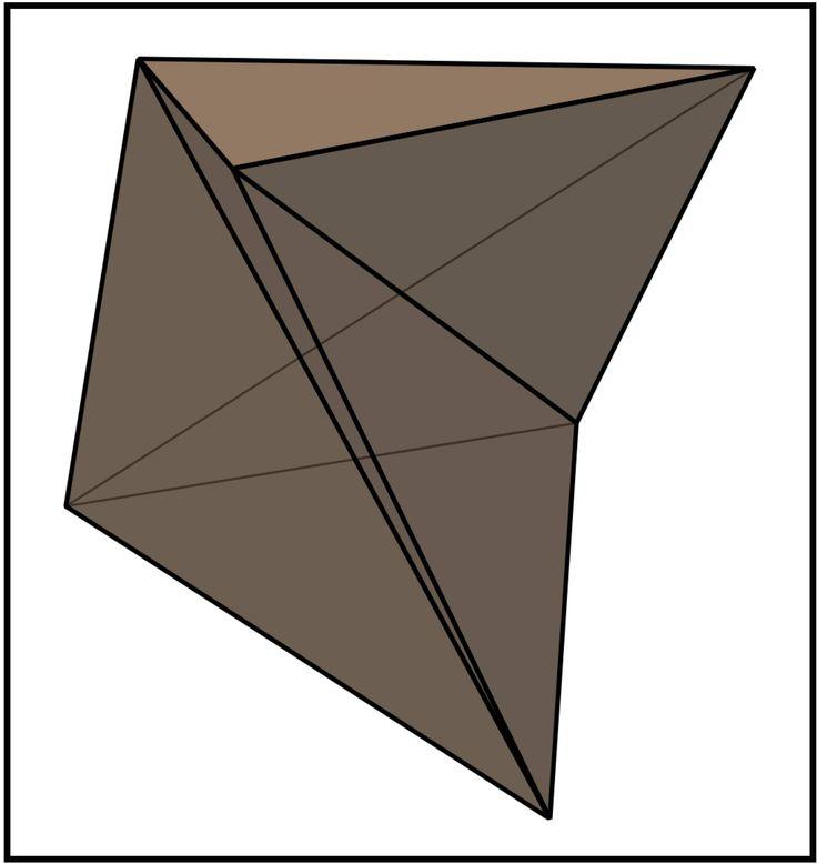 todo poliedro convexo es tetraedrizable, pero no todo poliedro no convexo es tetraedrizable. Este descubrimiento es relativamente reciente, concretamente de 1911. En ese año, N. J. Lennes construyó un poliedro no convexo que no era tetraedrizable. Algo después, en 1928, Eric Schönhardt dio un ejemplo más sencillo simplificando la construcción anterior, quedando el que ahora se conoce como poliedro de Schönhardt: