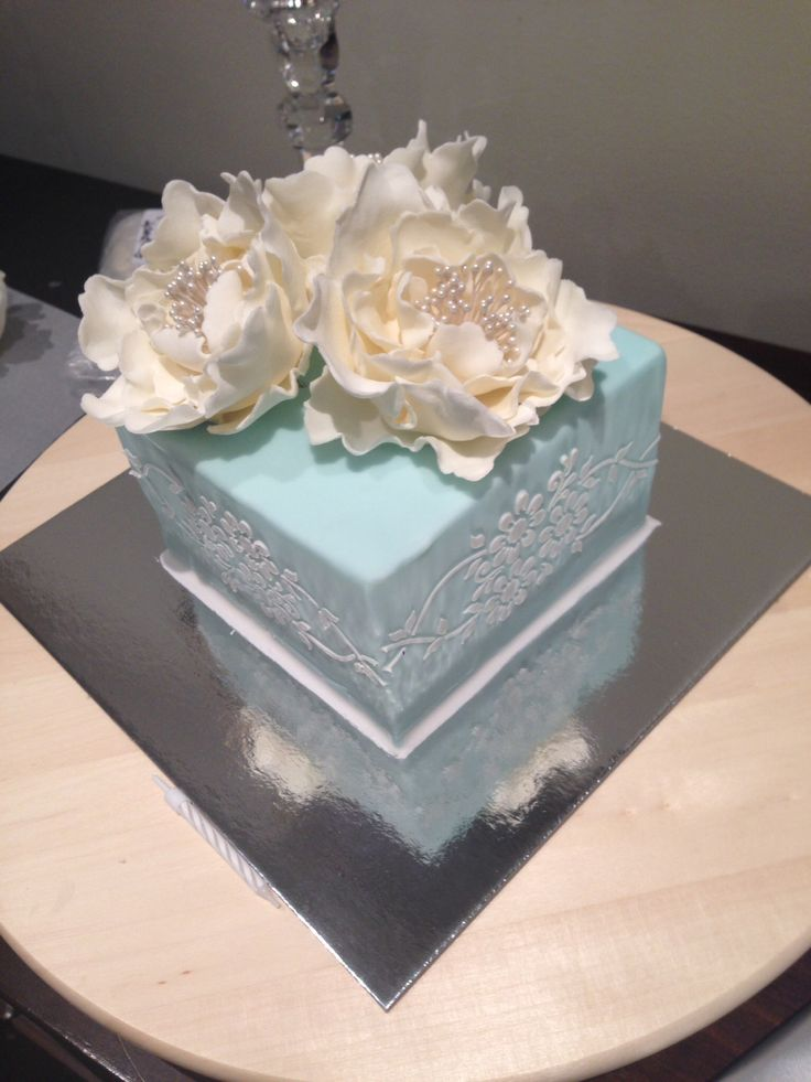 Duck egg blue cake with stencilling and peonies
