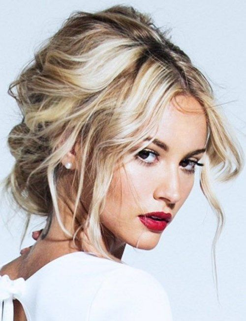 Cute Prom Updo Hairstyles 2015 Ideas: Sultry messy updo hairstyle for prom with soft curls