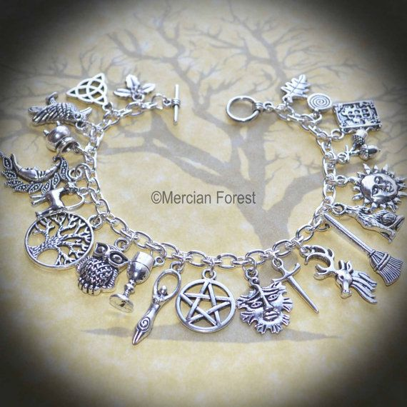 Welcome to our listing for the beautiful and handmade Pagan Ways Charm bracelet  This bracelet has been hand crafted using a strong, silver plated