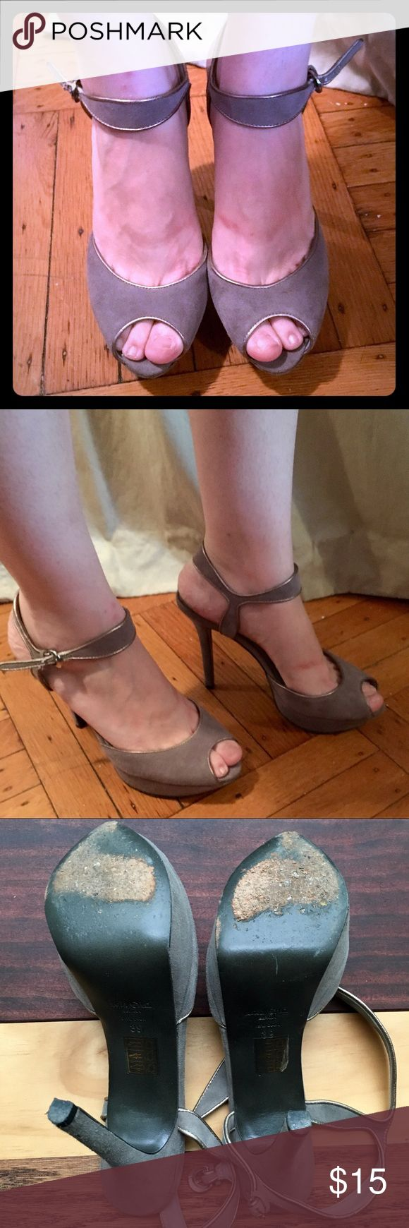 GONE 7/19 Lola Cruz Grey Suede Heels Perfect for summer weddings! The leather upper is in amazing condition - the soles are scuffed - see photos. Heels are approximately 5 inches high! Love these shoes but I've been told by my doc to stop wearing heels :( Hurry because I'm donating everything this Tuesday. Lola Cruz Shoes Heels