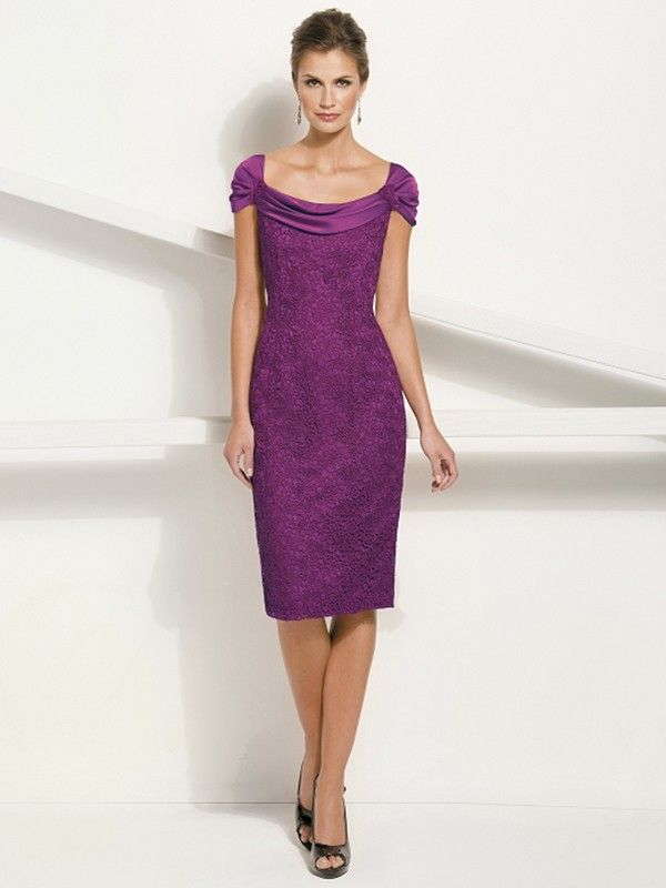 Sheath/Column Square Short Sleeves Knee-Length Lace Mother of the Bride Dresses