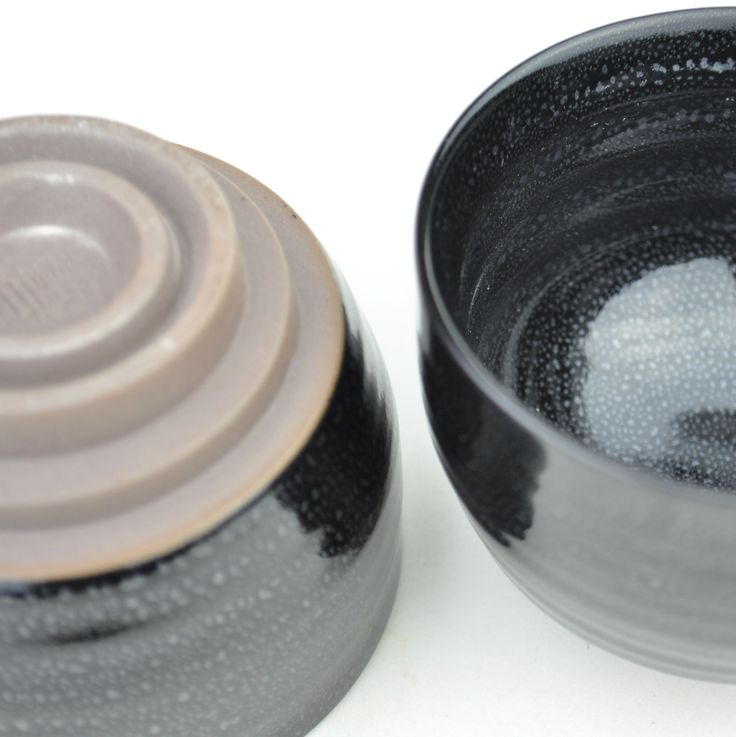 Shiny Black Soapstone Glazed Ceramic Cup * 100ml * Set of 2