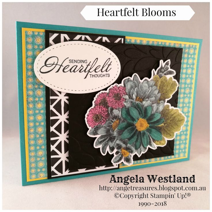 #heartfeltblooms #saleabrations #blends #stampinup #angelawestland #handmadecards #layeredcard #dryembossing #winkofstellaclear