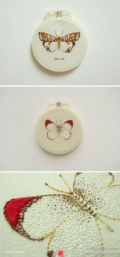 embroidered butterflies: