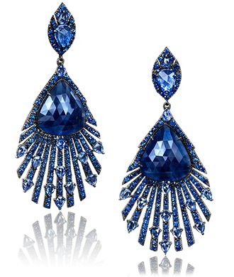 Blue Sapphirre Peacock Drop Earrings Dark blue sapphires center in an all-deep blue sapphire feather design, in 18-karat blackened gold. With french clip closure. Cellini Jewelers