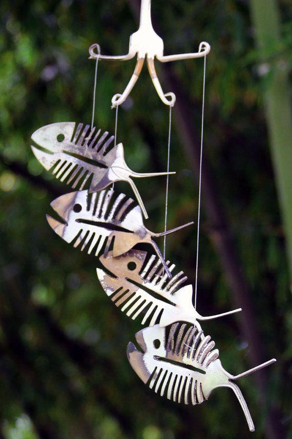 Carillón Esqueleto Pescado peces óseos, timbre, decoración, rústico Patio Metal Arte Folclórico escultura metálica colgada en la pared Peces Peces