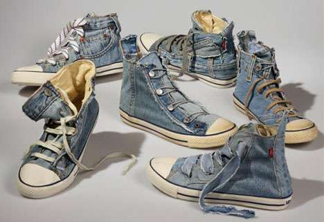 Levis has created a line of shoes made out of old jeans with the Reused Jean Shoe.    The Reused Jean Shoe takes a few pairs of old jeans for each shoe, because each shoe has the iconic Levi jean piecesincluding yellow stitching, coin pocket and stud button. A great reimagining of old jeans for Levis!  Would love a pair