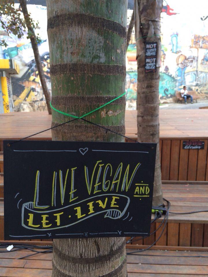 """LIVE VEGAN sign intervençao com placas para a 4a edicao do festival Hardcore Nas Ruas, tema """"Veganismo"""". Sao Paulo, Brasil, maio 2015 ......... sign intervention for the 4th Hardcore nas Ruas, """"Veganism"""" discussion. Sao Paulo, Brasil, may 2015"""