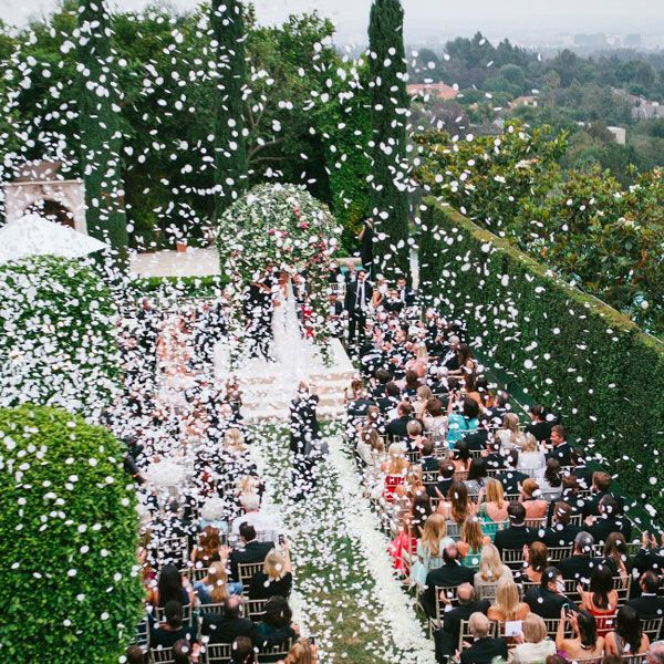 petal explosion at wedding ceremony