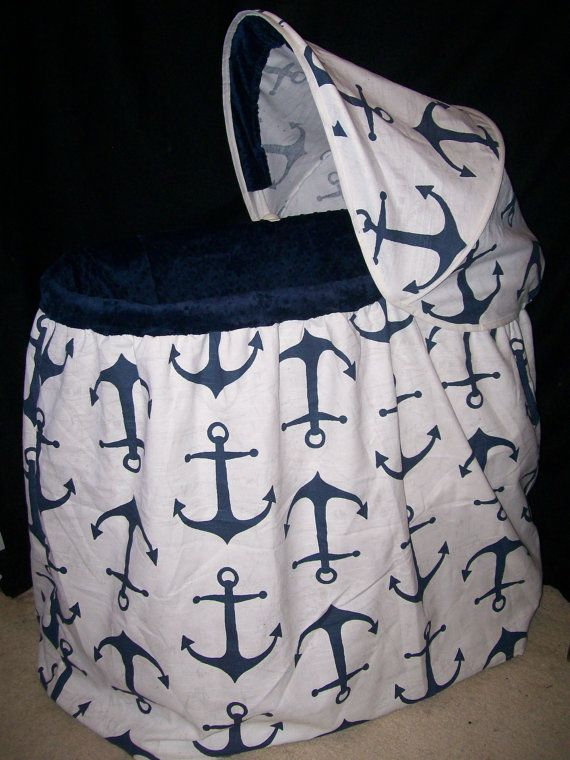 Anchors Bassinet Cover by QuinnsQuilts on Etsy