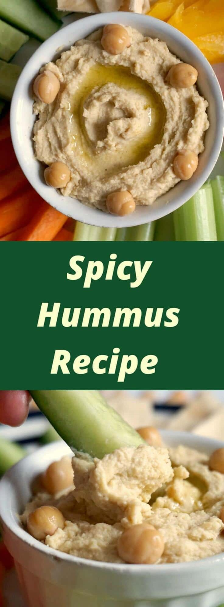 Spicy Hummus Recipe With Tahini, a delightful vegan appetizer for all tastes. Super healthy, nutritious, it makes a great healthy snack for kids and grown-ups alike. Serve with vegetable sticks or pitta bread. #hummus , #vegansnack, healthysnack, #easyappetizer, #appetizer ,