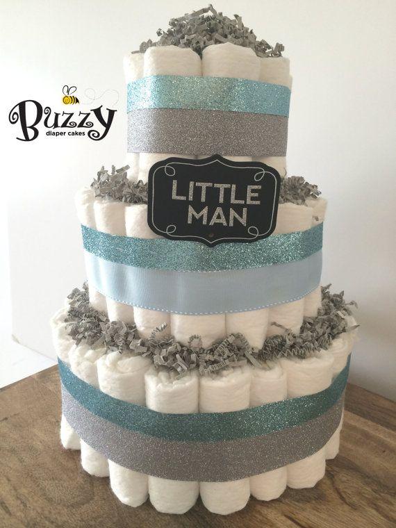 Little Man Blue and Gray Diaper Cake for Baby Boy Shower Decor, Gray Chevron, Blue Shower Theme Decor