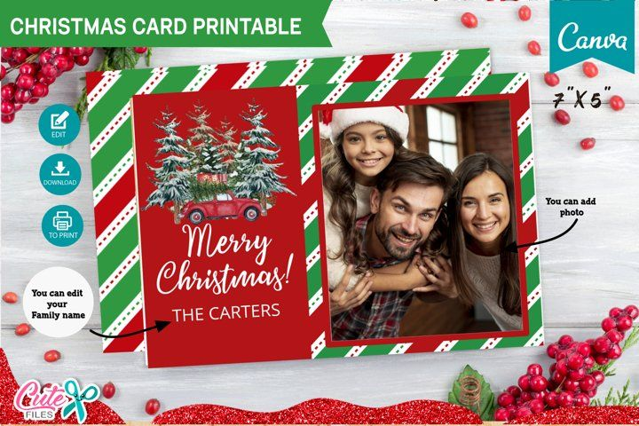 Christmas Card Template Editable With Canva 958172 Canva Templates Design Bundles Merry Christmas Card Christmas Card Template Family Christmas Cards