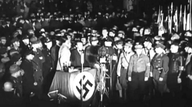 """Рейхсминистр доктор Геббельс обращается к молодежи: """"Мои друзья-студенты, немецкие мужчины и женщины, эра раздутого еврейского интеллектуализма подходит к концу. Триумф германской революции расчистил дорогу для германского пути, и в будущем немец будет не просто книжным человеком, но еще человеком с сильным характером, и именно так мы хотим вас воспитать. Уже в молодом возрасте вы должны иметь смелость прямо взглянуть в беспощадные глаза жизни. Отречься от страха перед смертью, чтобы…"""